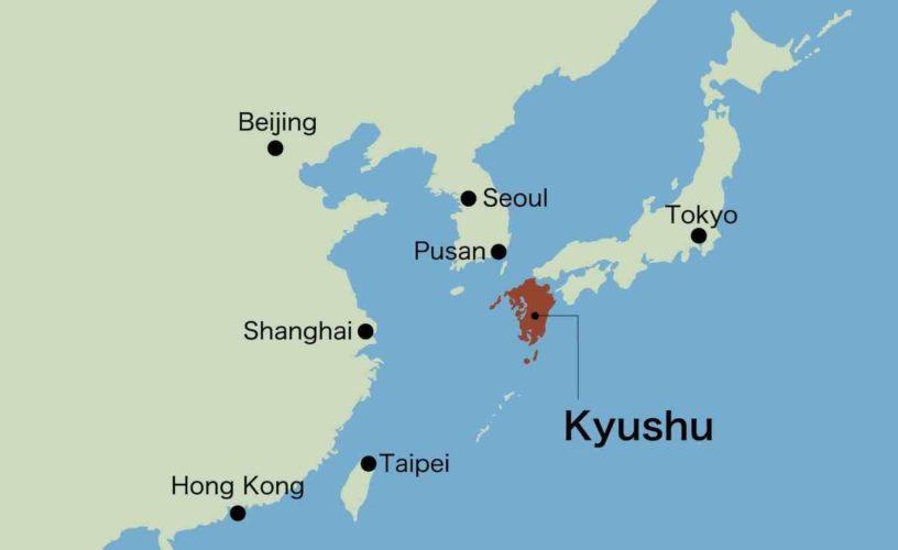 Kyushu, Asia, Japan map