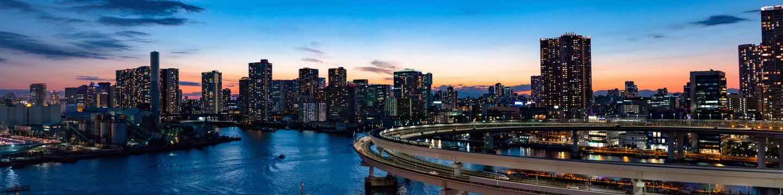 Fukuoka roadway at night