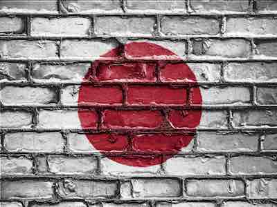 Japan Flag On Brick Wall