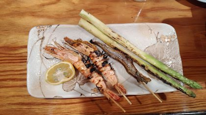 Grilled fish, prawn and asparagus
