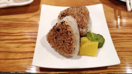 Grilled riceball with pickle