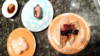 Conger eel, tuna and scallop sushi